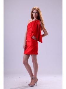 Red Column One Shoulder Prom Dress with Ruching