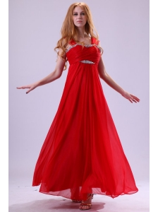 Red Empire Beading Straps Ankle-length Chiffon Prom Dress