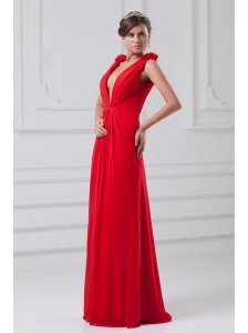 Red Empire V-neck Chiffon Floor-length Ruching Prom Dress