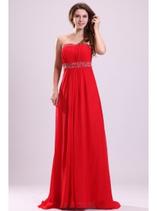 Sexy Sweetheart Empire Beading Chiffon Red 2014 Prom Dress with Backless