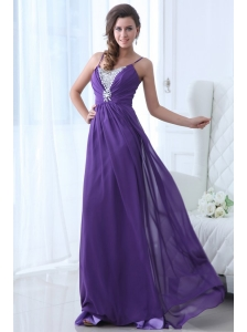 Simple Empire Straps Floor-length Chiffon Beading Purple Prom Dress