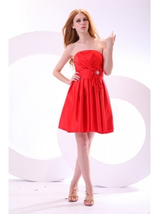 Simple Strapless A-line Mini-length Red Prom Dress with Ruching