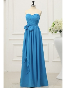 Simple Sweetheart Empire Prom Dress in Teal with Sash