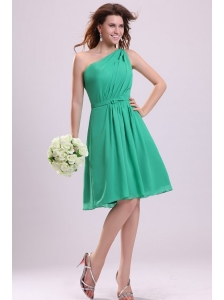 Turquoise Prom Dress with Bowknot and Ruching A-line One Shoulder