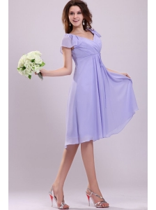 2013 Empire Cap Sleeves Lavender Ruching Prom Dress