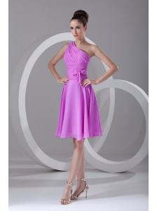A-line One Shoulder Lilac Chiffon Knee-length Prom Dress