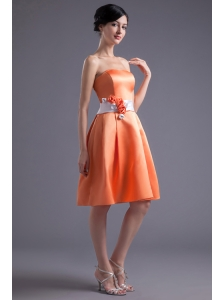 A-line Orange Red Strapless Sash Knee-length Satin Prom Dress
