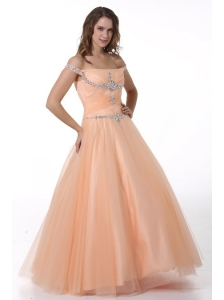 A-line Peach Off The Shoulder Beading Ruching Floor-length Tulle Prom Dress