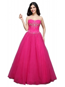A-line Strapless Hot Pink Appliques Organza Beading Prom Dress