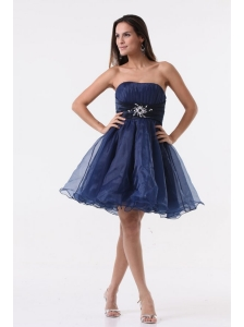 A-line Strapless Navy Blue Beading Ruching Organza Prom Dress