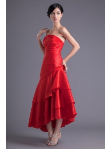 A-line Wine Red Strapless Ruching Asymmetrical Prom Dress