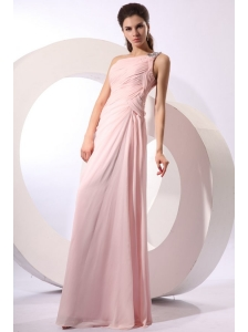 Baby Pink Empire One Shoulder Beaded Prom Dress with Ruches