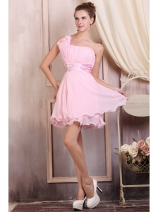 Baby Pink Strapless Short Mini-length Prom Dress with Beading