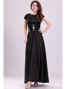 Bateau Black Beading Empire Ankle-length Prom Dress with Short Sleeves