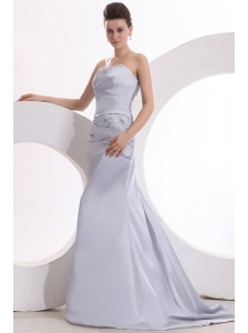 Beautiful Column Strapless Grey Brush Train Lace up Prom Dress with Beading