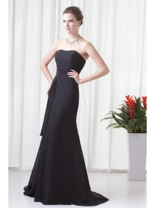 Black Column Strapless Brush Train Ruching Prom Dress with Lace Up