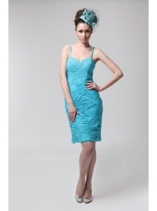Blue Straps Column Side Zippe Chiffon Knee-length Ruching Prom Dress