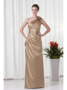 Champagne Column One Shoulder Taffeta Hand Made Flowers Prom Dress