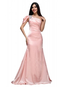Column Baby Pink One Shoulder Beading and Ruching  Prom Dress