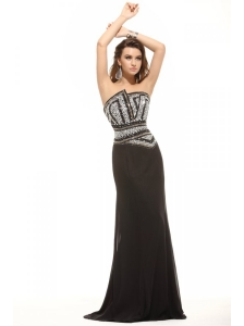Column Black Strapless Beading Chiffon Floor-length Prom Dress