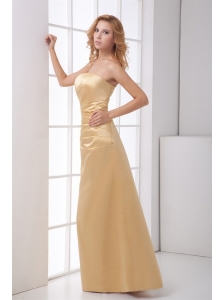 Column Strapless Floor-length Champagne Ruching Prom Dress