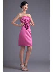 Column Strapless Rose Pink Ruching Taffeta Mini-length Prom Dress