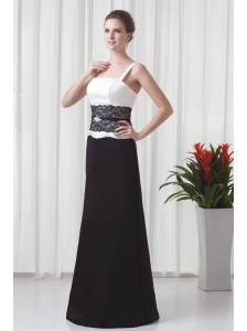 Column Straps Floor-length Lace Black and White Prom Dress