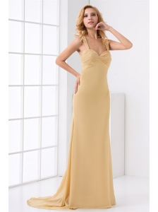 Column Straps Ruching Champagne Chiffon Brush Train Criss Cross Prom Dress