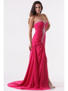 Column Sweetheart Beading and Ruching Hot Pink Long Prom Dress