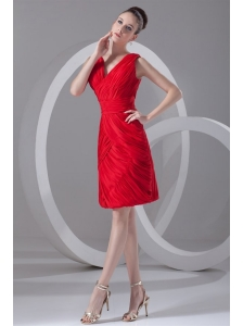 Column V-neck Mini-length Chiffon Red Ruching Prom Dress