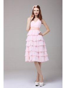Cute Princess Baby Pink V-neck Ruffled Layers Ruching Prom Dress