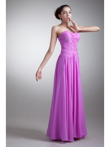 Elegant Empire Sweetheart Floor-length Lilac Beading Chiffon Prom Dress