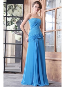 Empire Blue Strapless Beading and Ruchng Chiffon High Slit Long Prom Dress