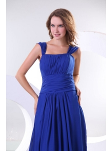 Empire Chiffon Blue Wide Straps Floor-length Prom Dress with Ruche