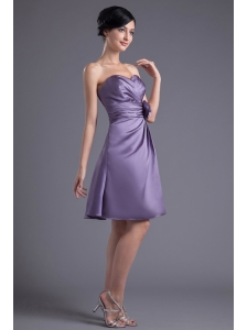 Empire Hand Made Flower Sweetheart Purple Ruching Mini-length Prom Dress