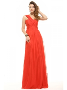 Empire Orange Red One Shoulder Ruching Chiffon Prom Dress