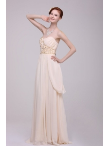 Empire Strapless Champagne Ruching Chiffon Floor-length Prom Dress