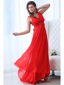 Empire Wine Red V-neck Ruching Appliques Floor-length Prom Dress