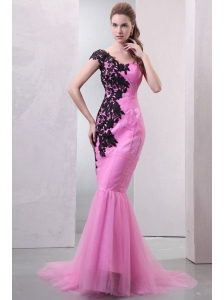 Mermaid One Shoulder Rose Pink Appliques and Ruching Brush Train Prom Dress