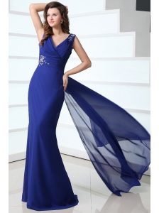 Mermaid Royal Blue V-neck Beading and Ruching Prom Dress