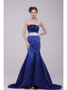 Mermaid Strapless Brush Train Navy Blue Taffeta Sashes Prom Dress