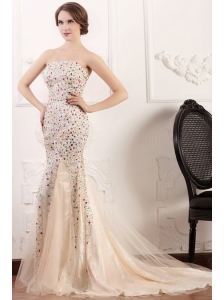 Mermaid Strapless Champagne Beading Court Train Prom Dress