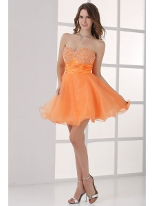Orange Sweetheart Beaded Short Prom Dress Mini-length