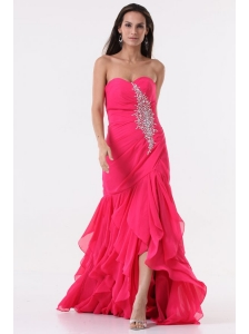 Pink Sweetheart High-low Prom Dress with Beading and Ruffles