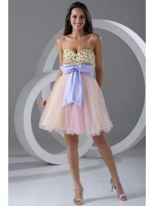 Princess Champagne Sweetheart Appliques Knee-length Prom Cocktail Dress
