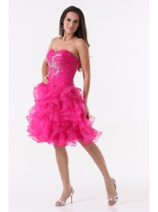 Princess Hot Pink Ruffles Beading Ruching Knee-length Prom Cocktail Dress