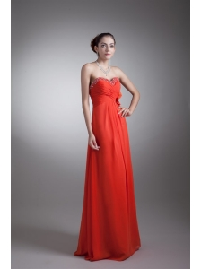 Red Empire Sweetheart Beading Chiffon 2014 Prom Dress