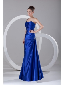 Simple Column One Shoulder Floor length Appliques and Ruching Blue Prom Dress