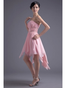 A-line Strapless High-low Pink Beading Chiffon Prom Dress