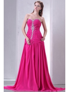 A-line Sweetheart Beading and Ruche Chiffon Prom Dress in Hot Pink
